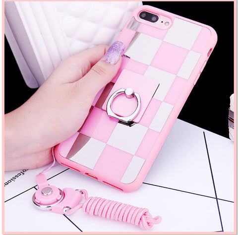 iPhone cases Checkered Mirror silicone covers soft hang rope + ring + Gift