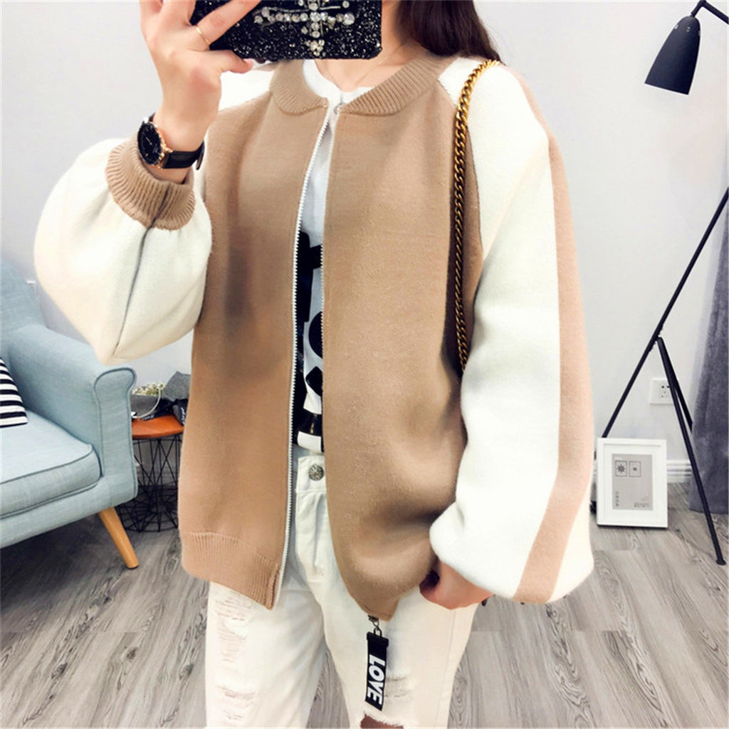 2017 Lotus embroidery knitted sweater women loose coats zipper cardigan outerwear jacket
