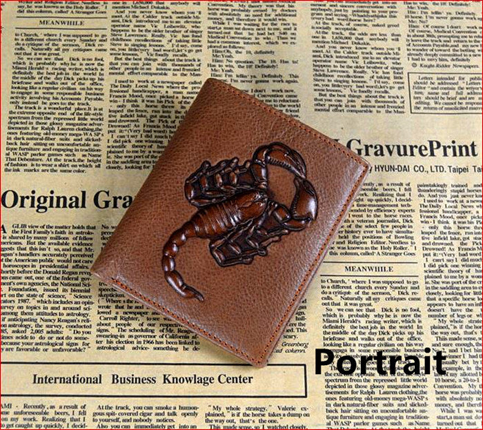 100% genuine leather wallet scopio tatoo designer wallet Brand man wallet