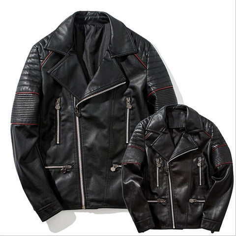 Cool Autumn Winter Jacket Young & Adult Slim Pu Zipper Jacket Big Lapel