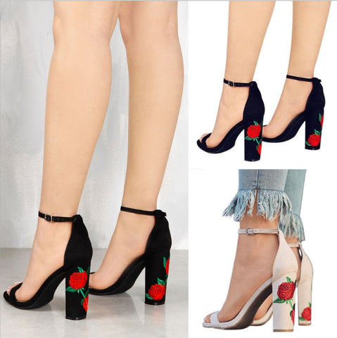 #4-12 New Ankle Strap Heel Embroidery Pump Sandals