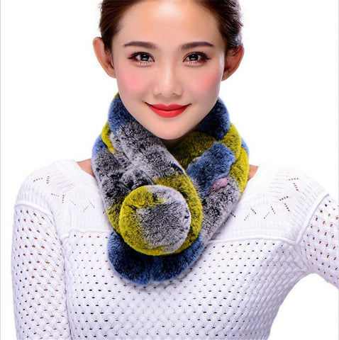 100% Rex rabbit fur neck scarf multi-color brand