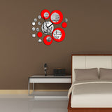 DIY creative fashion acrylic mirror Clock wall stickers-Silever & Red