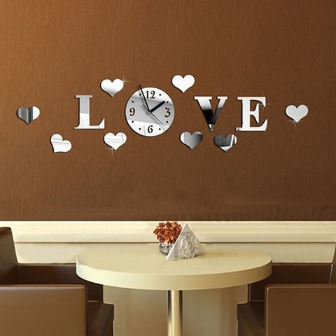 3D art & Unique Wall Clock Luxury mirror LOVE pattern