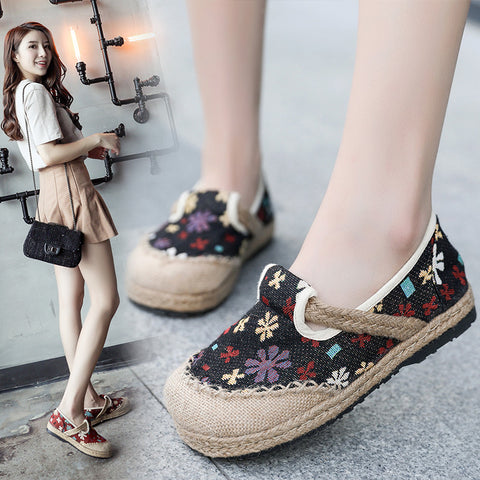 Breathable floral linen fabric flats women shoes loafers spring and summer