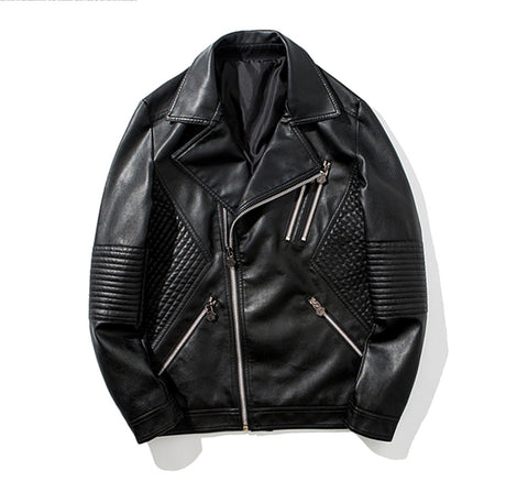 Cool Man Autumn Winter Jacket Young & Adult Slim Pu Zipper Jacket Big Lapel