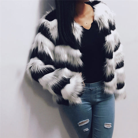 2017 New Loose Coat Women Hit Color Faux Fur Elegant Plush Jacket Outerwear