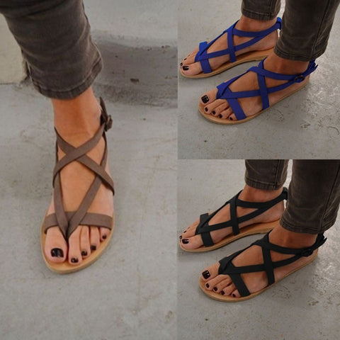 #4-12 Women' Sandals Ankle Strap Flats