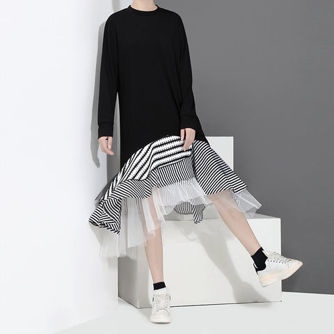 2018 New Round neck long/short sleeve mesh irregular skirt hem