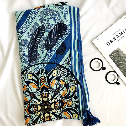 Fashion restoring dreamcatcher spring scarf & shawl 3D art embroidery