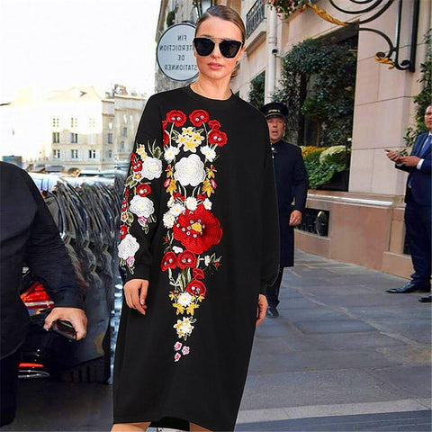 2018 Winter Spring Floral Embroidered Dress Outerwear Long Sleeve Loose Waist