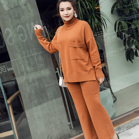 Plus 100Kgs Thicken Warm Women High-Necked Pocket Sweater Pant Suit Winter