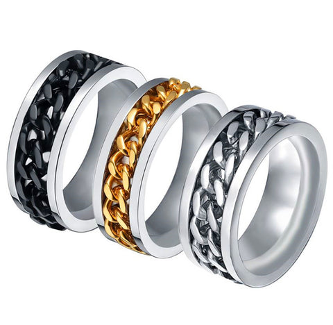 Black crystal titanium steel ring Chain is rotating