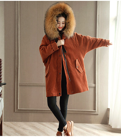 2017 Winter Women Hoodie Raccoon Fur Collar Loose Coat Thickening Bat Sleeve Cap Outerwear