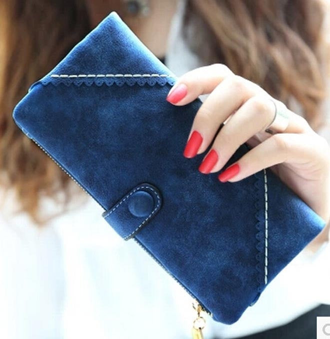 Women Long Wallets 2015 New Fashion Korean Version Lady Purse Card Retro Matte Snaps Multifunction Solid Cross Clutch