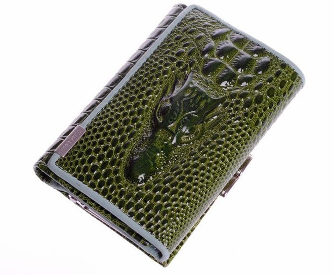 crocodile design genuine leather luxurious women short wallet lady purse card package
