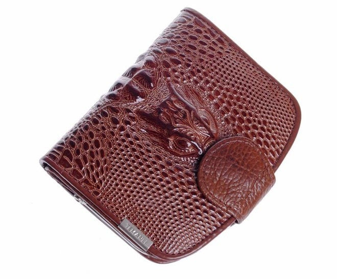 crocodile European American style design genuine leather women short wallet lady purse card package