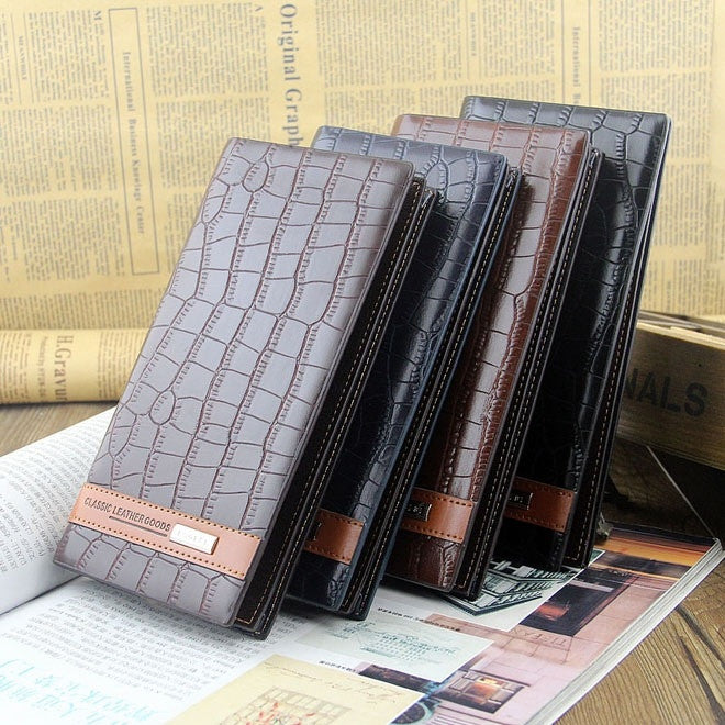 Men Fashion Business Long Design Alligator Large Capacity Leather Wallet Card Purse Solid Pocket