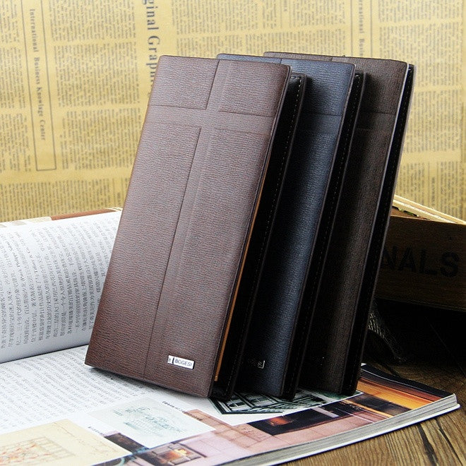 Men Fashion Scrub Solid Business Long Design Casual Large Capacity Formal PU Leather Wallet Card Purse Pocket