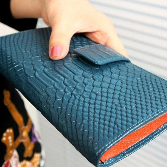 Fashion Crocodile pattern long size clutch Genuine cow leather women Wallet lady Purse Coin Pocket