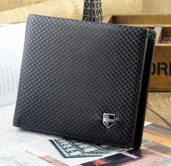New famous  men wallets black brown genuine leather Cross paragraph clips&wallet High quality purse card Holder
