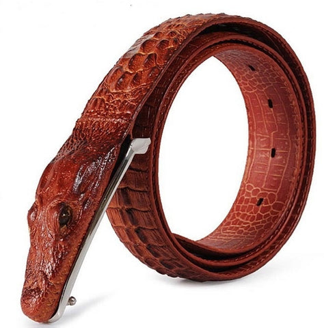 New arrival Men Belts antique Genuine Leather crocodile buckle alligator design
