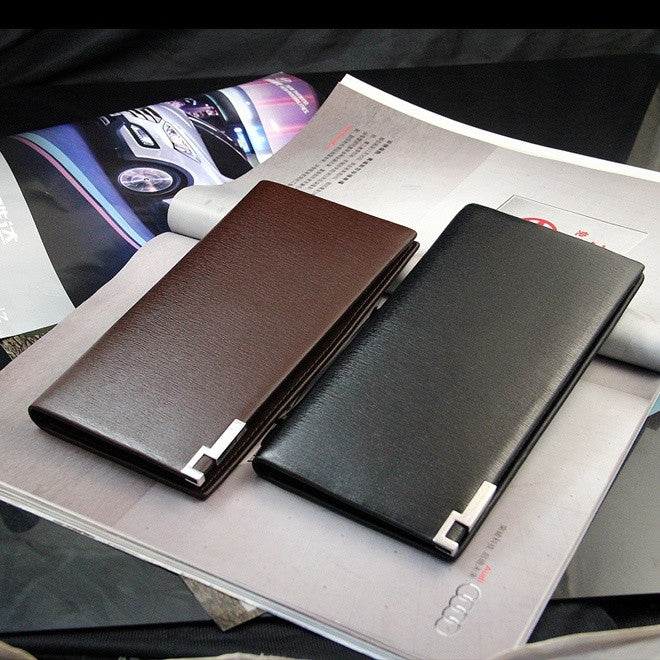 2016 Men Genuine Leather Wallet Man Purse Business Card Holder Iron Edge New Luxury Fashion