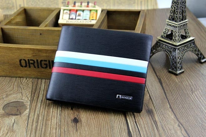 Hot Men Short Wallets Genuine Leather Casual Striped Mix Color Purse Card