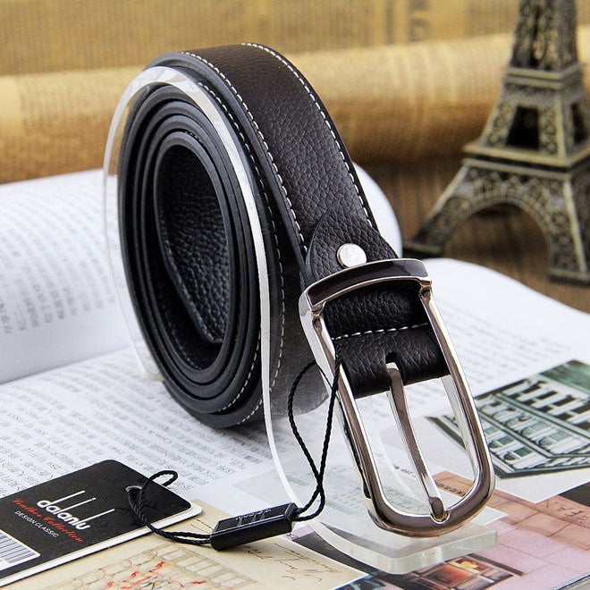 New Hot Leisure brand double-sided leather belt men women Cow Skin Genuine Leather belts Pin Buckle Blt0021
