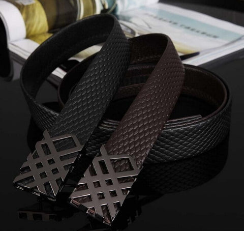 New Men Fashion Belt Top Quality Genuine Cow Skin Leather Metal Buckle Black Coffee Gentalman's All-match Plaid