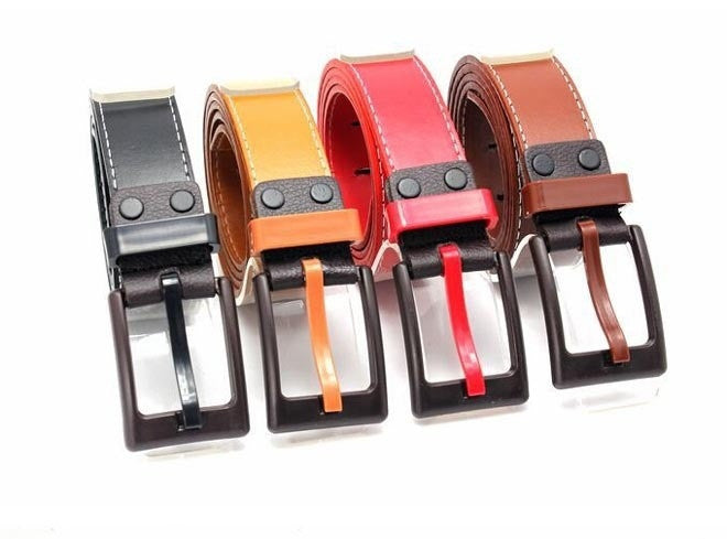 New Men Women Belts Unisex Fashion Belt PU Leather Metal Buckle 9 Colors Gentalman's All-match Solid