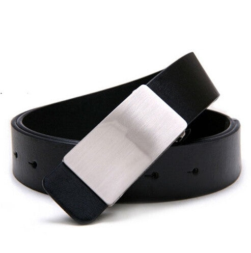 New Men/Women Unisex Fashion Belt PU Leather Metal Buckle 3 Colors Gentalman's All-match Solid