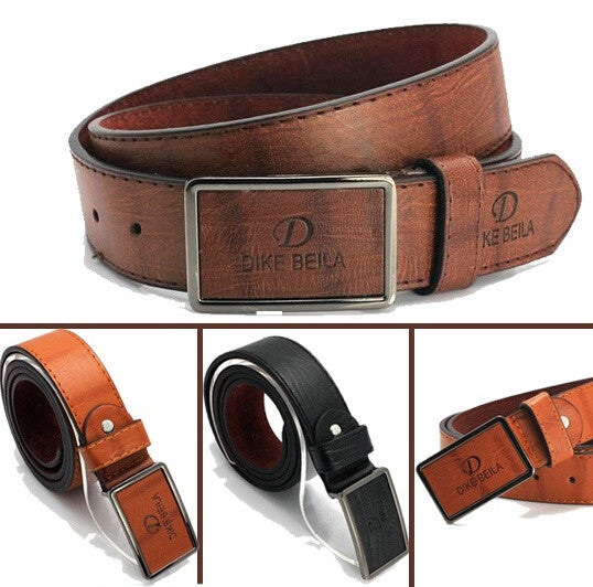New Men Fashion Belt High Quality PU Leather Smooth Metal Buckle 4 Colors Gentalman's All-match