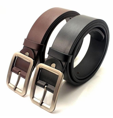 New Men Fashion Belt High Quality Genuine Cow Skin Leather Button Metal Buckle 4 Colors Gentalman's All-match