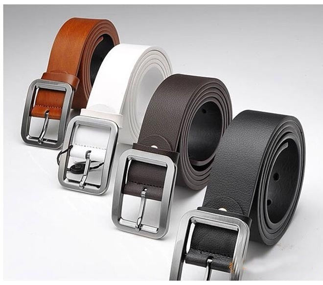 New Version Men Belt High Quality Genuine Cow Skin Leather Button Metal Buckle 4 Colors Gentalman's All-match