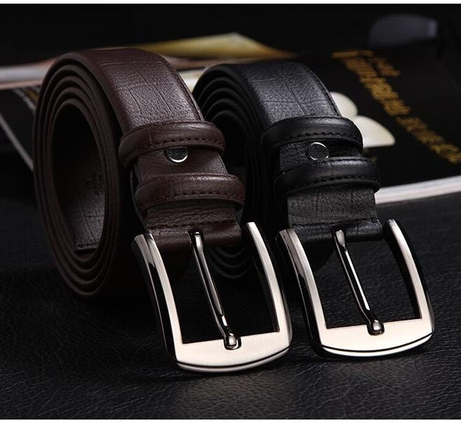 New Version Men Belt High Quality Genuine Crocodile Skin Leather Button Metal Buckle 2 Colors Gentalman's