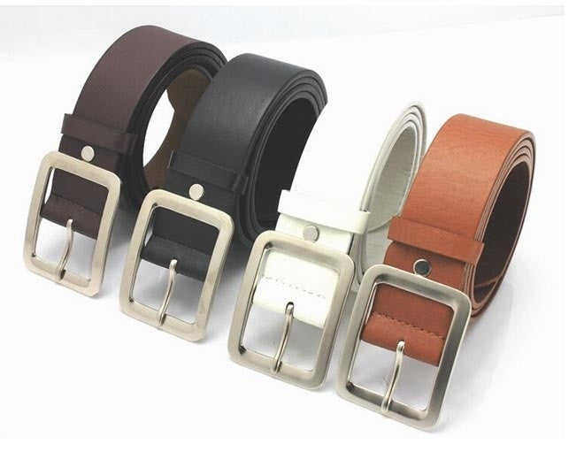 New Version High Quality Fashion Women Belt PU Leather Button Metal Buckle 4 Colors Gentalman's