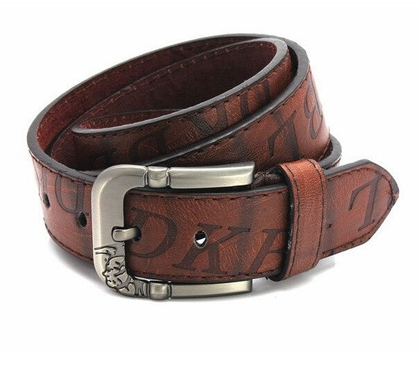 New Men Fashion Belt High Quality PU Leather Button Metal Buckle 3 Colors Gentalman's All-match