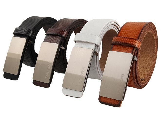 New Men Women Unisex Fashion Belt Top Quality Genuine Cow Skin Leather Metal Buckle 4Colors Gentalman's All-match