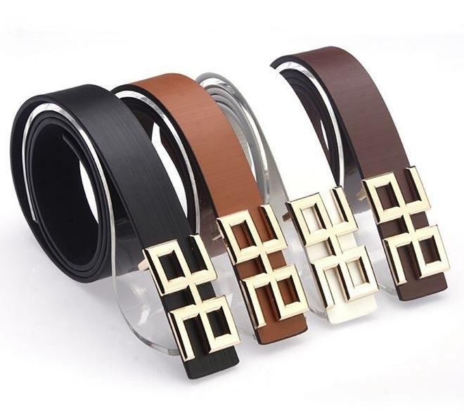 2014 New Men Button Fashion Belt Brand PU Leather Metal Buckle 4 Colors Casual Gentalman's All-match