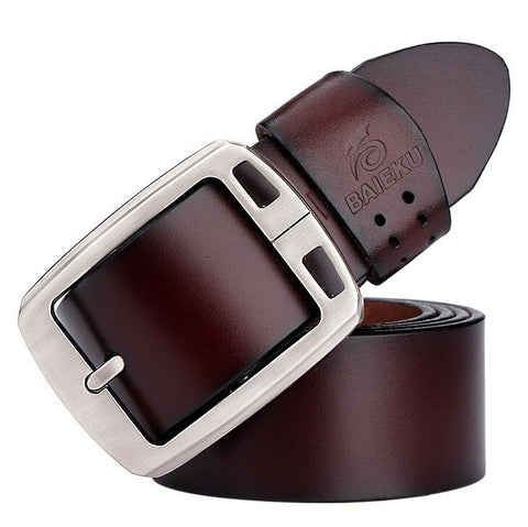 New Men Belt Top Quality Genuine Luxury Cow Skin Leather Casual Metal Button Buckle 4 Colors BAIEKU Brand