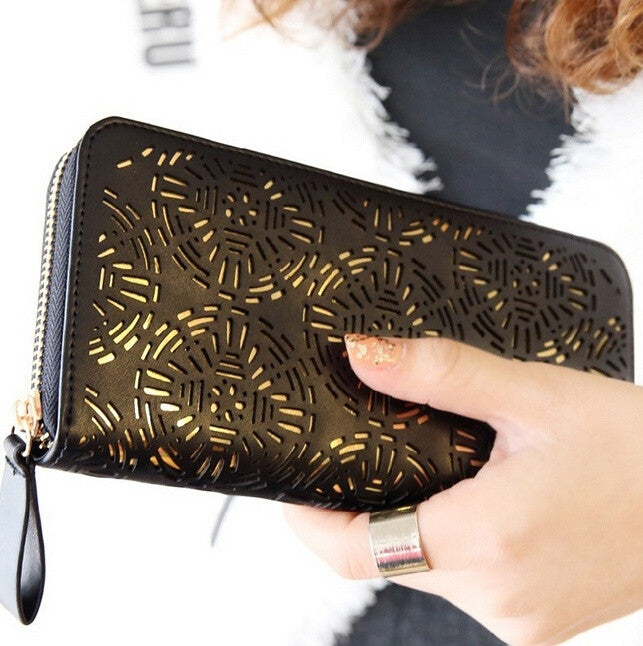 Models bag British style hollow single zipper women wallets lady purse card