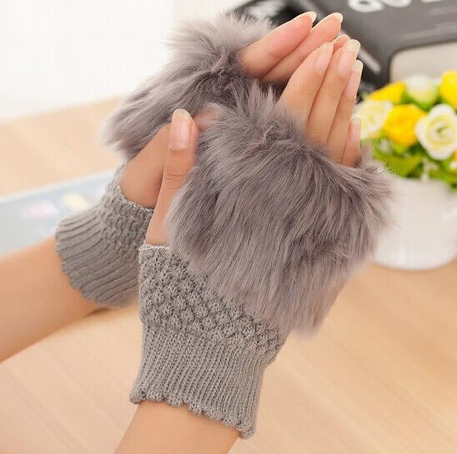 2015 Brand Winter Warm Imitation Rabbit Faux Fur Women Gloves Knitted Patchwork Waist Gloves Half Finger Gloves