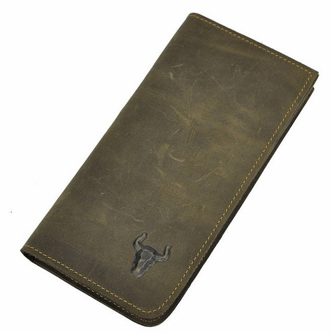 Men Wallets Vintage Long Fashion Purse Cow Leather Coin Pocket Simply Style Wallet Purses