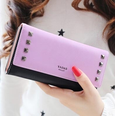 Women Wallets Fashionable New S-shaped Snap Rivet Punk Style ladies Contrast color long wallet lady purse card Holder