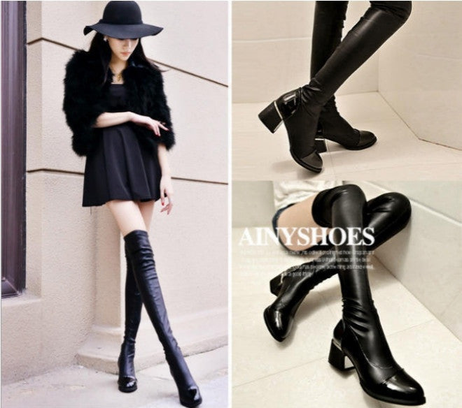 Spring Winter Sexy Women Long Boots Over Knee Boots Platforms High Heel Leather Black Bottom Fashion Knight Boots Size 36-39