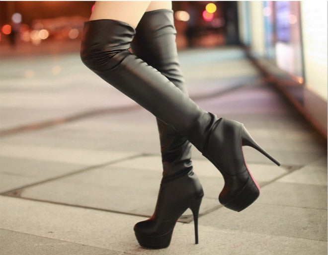 Size 34-45 Winter lining ville Women Boots Sexy High Heel Women Long Boots Over-the-knee Platform Red Bottom Ladies Shoes