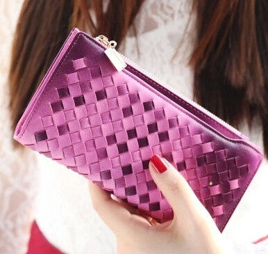 2015 Women Wallets Zipper Plush PU Leather Lady Long Purse Solid Fashion Brand Top Card Holder 11 Colors WBG1212