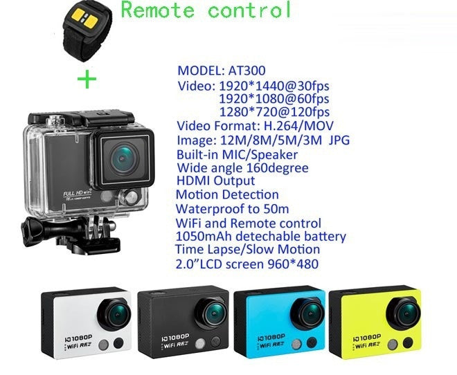 Wide Angle Sport Action Camera AT300 Full HD 1080P Waterproof Wifi Remote Control Digital Cameras DV