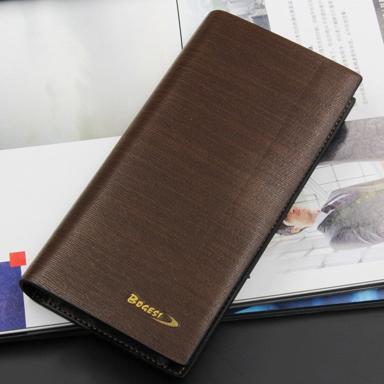 New genuine leather 2015 long wallet classic casual men long section wallets fashion purse card coffee